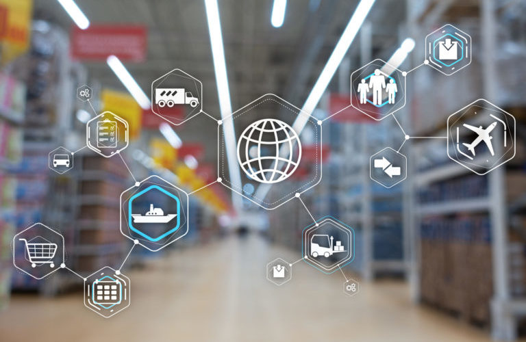 Logistics and transportation concept on supermarket background